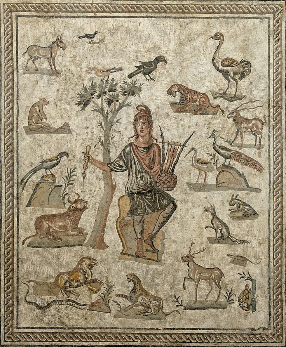 <em>Orphée entouré d'animaux</em>, mosaïque romaine, première moitié du iiie s. av. J.‑C., musée archéologique régional Antonio-Salinas, Palerme, © Marie-Lan Nguyen / Wikimedia Commons.
