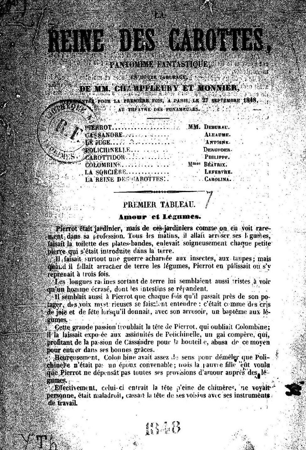 Page de titre de <em>La Reine des carottes</em>, de Champfleury et Albert Monnier. Gallica (BNF).